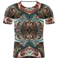 billige -T-skjorte Herre - 3D / Regnbue / Grafisk, Trykt mønster Punk & Gotisk / overdrevet Lysebrun XXL