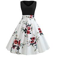 billige -Dame Basale Elegant A-linje Swing Kjole - Blomstret, Patchwork Trykt mønster Midi