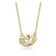 levne -Dámské Kubický zirkon Náhrdelníky s přívěšky Geometrické Labuť Módní Měď Zlatá 45+6 cm Náhrdelníky Šperky 1ks Pro Dar Denní