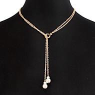 hesapli -Kadın's Kolye katmanlı Kolyeler Aluminyum Altın 53 cm Kolyeler Mücevher 1pc Uyumluluk Günlük Okul Cadde Tatil Festival