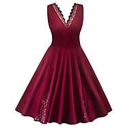 رخيصةأون -فستان نسائي كلاسيكي عصري أناقة الشارع بقع طول الركبة لون سادة