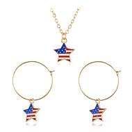 رخيصةأون -نسائي العلم الأمريكي مجموعة مجوهرات نجمة, علم أوروبي, شائع, حلو تتضمن أقراط قطرة قلائد الحلي التقزح اللوني من أجل شارع مهرجان / مل 3pcs