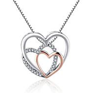levne -Dámské Kubický zirkon Náhrdelníky s přívěšky Geometrické Srdce Módní Chrome Bílá 45+5 cm Náhrdelníky Šperky 1ks Pro Dar Denní