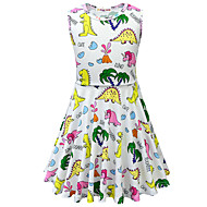 cheap -Kids Toddler Girls' Active Street chic Animal Cartoon Sleeveless Above Knee Dress White