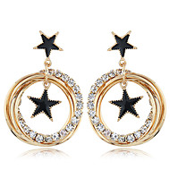 tanie -Damskie Kolczyki drop Kolczyki Imitacja diamentu Kolczyki Gwiazda Europejskie Słodkie Moda Śłodkie Elegancja Biżuteria Złoty Na Codzienny 1 para