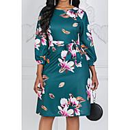 baratos -Mulheres Elegante Evasê Vestido Floral Altura dos Joelhos