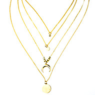 cheap -Women's Layered Necklace Stacking Stackable Moon Trendy Chrome Gold 63 cm Necklace Jewelry 1pc For Daily Festival