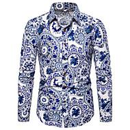 povoljno -Majica Muškarci - Kinezerije / Elegantno Kauzalni / Dnevni Nosite Cvjetni print / Color block Print Plava