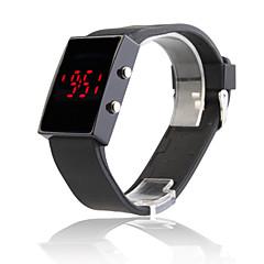 Relógio LED Espelhado de Silicone Preta