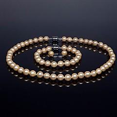 preiswerte Halsketten-Perle Schmuck-Set - Silber Einschließen Rosa / Hellgrau / Regenbogen Für Hochzeit / Party / Jahrestag / Haken / Verlobung / Geschenk / Halsketten