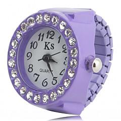 preiswerte Damenuhren-Damen Quartz Armbanduhr / Ringuhr Japanisch Imitation Diamant Plastic Band Glanz / Modisch Schwarz / Weiß / Rosa / Lila