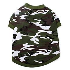 Cães Camiseta Verde Roupas para Cães Verão Primavera/Outono camuflagem Da Moda