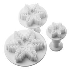 Schneeflocke-Muster Kuchen und Kekse Cutter Form mit Stößel (3 Stück)