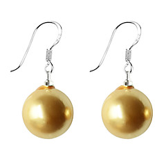 お買い得  イヤリング-女性用 真珠 純銀製 人造真珠 ドロップイヤリング  -  グレー イエロー ピンク イヤリング 用途 日常