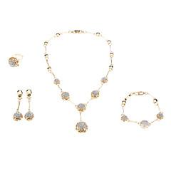 Χαμηλού Κόστους Σετ Κοσμημάτων-Κοσμήματα-Κολιέ / Cercei / Δακτυλίδια / Βραχιόλι(Κρύσταλλο / Αχάτης / Πετράδι / Στρας)Γάμου Δώρα Γάμου