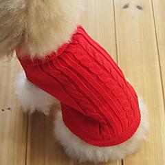 Gato Cachorro Súeters Roupas para Cães Clássico Mantenha Quente Sólido Vermelho Verde Rosa claro Azul Claro Azul Real