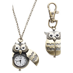 voordelige Kettinghorloge-Dames Zakhorloge Horlogeketting Sleutelhanger Horloge Modieus horloge Kwarts Uil Style Legering Band Uil Brons