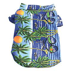 お買い得  犬用ウェア&アクセサリー-ネコ 犬 Tシャツ 犬用ウェア 花/植物 イエロー ブルー 虹色 コットン コスチューム ペット用 男性用 女性用 ホリデー ファッション