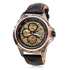 billige Mekaniske ure-WINNER Herre Automatisk Selv-optræk Mekanisk Ur / Armbåndsur Hul Indgravering PU Bånd Vedhæng Sort