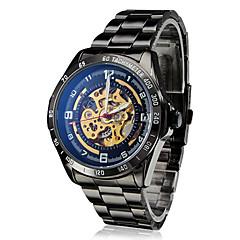 tanie Zegarki męskie-SHENHUA Męskie Zegarek na nadgarstek zegarek mechaniczny Nakręcanie automatyczne Hollow Grawerowanie Stal nierdzewna Pasmo Luksusowy