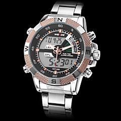 abordables Weide-Hombre Reloj Militar Despertador Calendario Cronógrafo Banda Analógico-Digital / LCD / Dos Husos Horarios