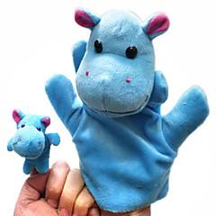 voordelige Poppen-2PCS Ouder-kind Hand & Finger Puppets Blue Hippos