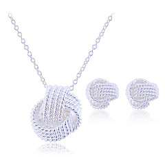 Women's Jewelry Set Stud Earrings Pendant Necklaces Plaited Bridal Elegant Party Birthday Engagement Gift Silver Sterling Silver Alloy