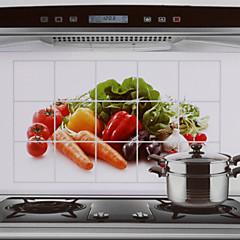 75x45cm λαχανικά μοτίβο πετρελαίου-απόδειξη νερού-απόδειξη ζεστό-απόδειξη αυτοκόλλητο τοίχο της κουζίνας