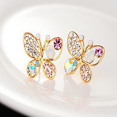 cheap Earrings-Women's Synthetic Diamond Hollow Out Stud Earrings - Pearl, Rhinestone Butterfly, Animal Golden For Party / Daily