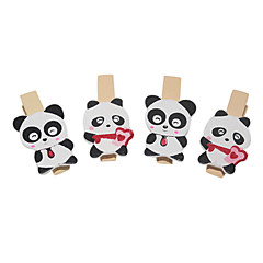 olcso -Panda Pattern Fa csipesz (4 db)