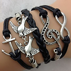 cheap Bracelets-Women's Leather Bird Tree of Life Infinity Anchor Charm Bracelet Leather Bracelet Wrap Bracelet - Personalized Vintage Multi Layer