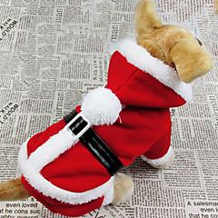 Perro Disfraces Abrigos Saco y Capucha Ropa para Perro Transpirable Cosplay Navidad Sólido Rojo Disfraz Para mascotas