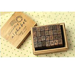 abordables Material de Oficina-letras minúsculas sellos de madera fijados (28 piezas)