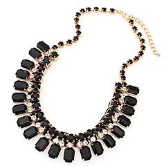 abordables Joyas-Mujer Cuadrado Forma Geométrica Europeo Collares de cadena Piedras preciosas sintéticas Resina Diamante Sintético Legierung Collares de