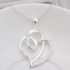 Γυναικεία Κρεμαστά Κολιέ Καρδιά Cubic Zirconia Χαλκός Στρας Επάργυρο Love μινιμαλιστικό στυλ Κοσμήματα Για Πάρτι Καθημερινά