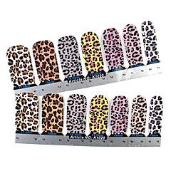 abordables Adhesivos Completos para Uñas-28PCS Full-punta Leopard Print Nail Art Stickers Decals