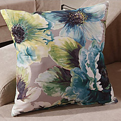 Retro Oriental Ink Painting Style Green Blossoms Decorative Pillow With Insert