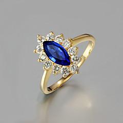 Gift For Girlfriend Classic Ocean Blue Eye Cubic Zirconia & Rhinestone Statement Rings(Gold)(1 Pc)
