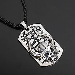 Муж. Ожерелья с подвесками Кожа Серебрянное покрытие В форме черепа Бижутерия Для вечеринок Halloween