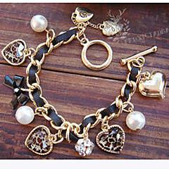 お買い得  ブレスレット-女性用 真珠 チャームブレスレット  -  真珠, 人造真珠, イミテーションダイヤモンド ハート, 幸福, リボン ぜいたく, 欧風 ブレスレット ゴールドとブラック 用途 クリスマスギフト パーティー 日常
