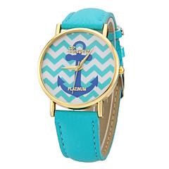저렴한 여성용 시계-여성용 패션 시계 석영 캐쥬얼 시계 가죽 밴드 참 블랙 화이트 블루 레드 로즈