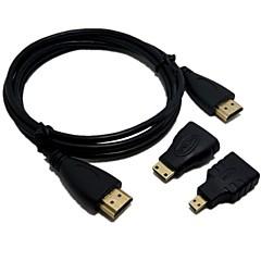 10ft 3in1 Full HD 1080P HDMI kábel HDMI / Mini HDMI / Micro HDMI Adapter Kit
