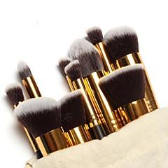 hesapli -Ücretsiz Makyaj Çantalı 10 Parça Profesyonel Makyaj Fırça Seti Altın Tüp Makyaj Fırçaları Seti