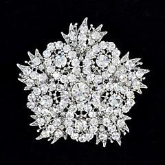 6.3cm Rhinestone i Felgi Gęsty Duży Kwiat Liście Broszka Pin dla biżuterii kobieta Party