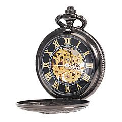 preiswerte Herrenuhren-Herrn Taschenuhr / Mechanische Uhr Japanisch Transparentes Ziffernblatt Legierung Band Charme Schwarz / Mechanischer Handaufzug  / Zwei jahr
