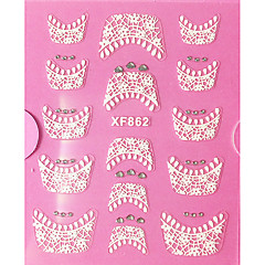 3D Rhinestone French Lace nagel konst Stickers XF-seriens NO.862