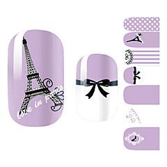 28pcs Фиолетовый Романтический Париж Дизайн Nail Art Наклейки