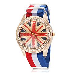 preiswerte Damenuhren-Unisex UK National Flag Muster Stil Stoff-Band Quarz-Armbanduhr (verschiedene Farben)