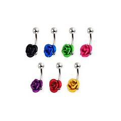lureme®316l anillo de titanio flores de acero quirúrgico del ombligo (color al azar)