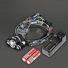 RJ-3000 Otsalamput Laturit LED 4000 Lumenia 4.0 Tila Cree XM-L T6 Ladattava Isku viiste varten Telttailu/Retkely/Luolailu Matkailu Musta